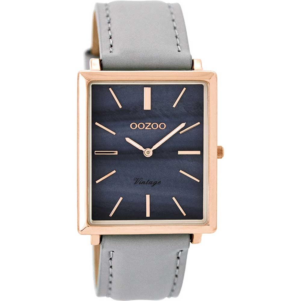 OOZOO TIMEPIECES VINTAGE ROSE GOLD GREY LEATHER STRAP