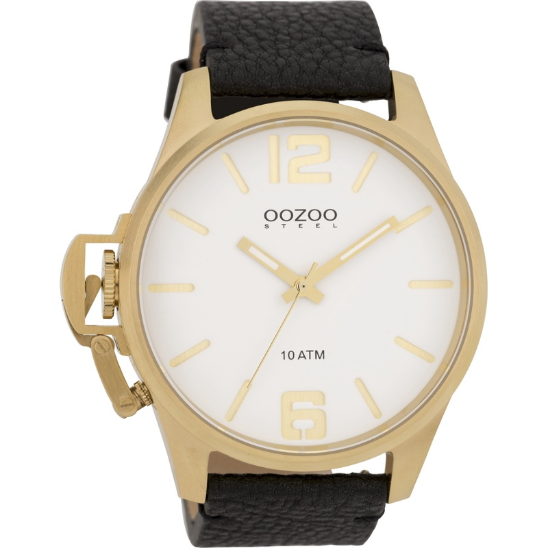 OOZOO STEEL XL GOLD BLACK LEATHER STRAP