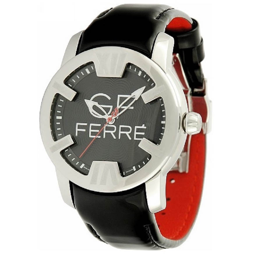 GF FERRE STAINLESS STEEL CASE BLACK LEATHER STRAP