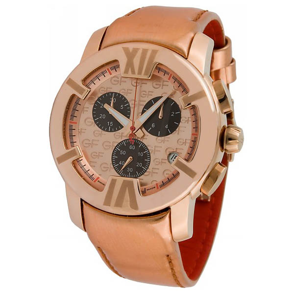 GF FERRE ROSE GOLD STAINLESS STEEL CASE BLACK LEATHER STRAP