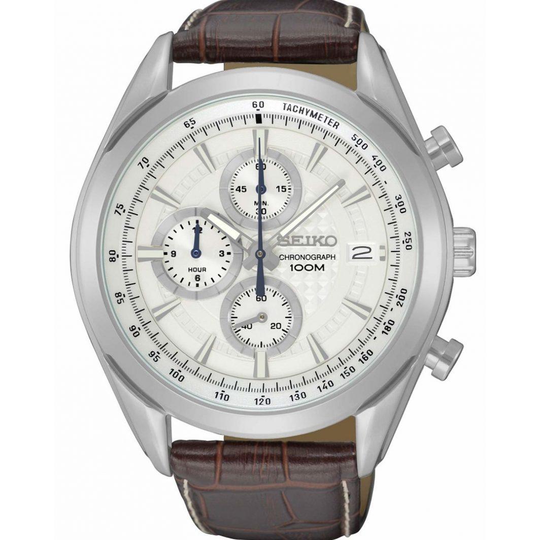 Seiko Conseptual Chronograph Brown Leather Strap SSB263P1