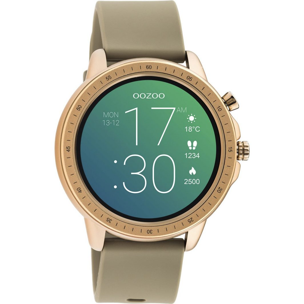 Oozoo Rose Gold Tapue Rubber Strap Smartwatch Q00302